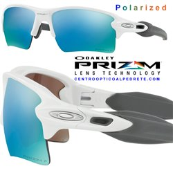 Flak 2.0 XL Polished White / Prizm Deep Water Polarized (OO9188-82)