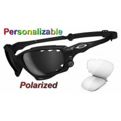 Racing Jacket Custom Polished Black / Black Iridium Polarized Vented (4526)