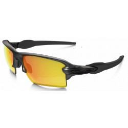 Flak 2.0 XL Matte Grey Smoke / Fire Iridium Polarized (OO9188-10)