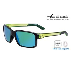 Cebe Dude Shiny Black Crystal Yellow / 1500 Grey Flash Mirror Green (CBDUDE3)
