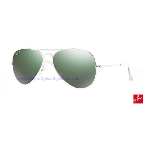 Lentes de repuesto Ray-Ban Aviator Large Metal / Lente Green Polarized Silver Mirror (RB3025-001/M4)