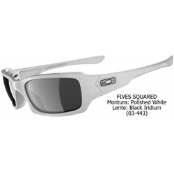 Fives Squared Polished White/ Black Iridium (OO9079/03-443)