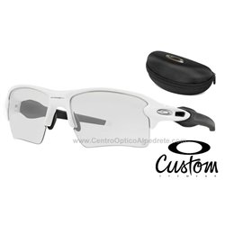 Flak Jacket 2.0 XL Custom Polished White / Clear Black Iridium Photochromic (OO9188-51C)