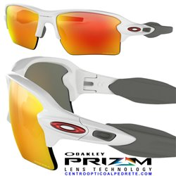 Flak 2.0 XL Polished White / Prizm Ruby (OO9188-93)