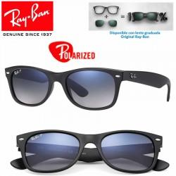 Ray-Ban New WayFarer Matte Black / Blue Grad. Grey Polarized (RB2132/601S78)