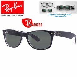 Ray-Ban New WayFarer Top Black On Transparent / Green Polarized (RB2132/605258)