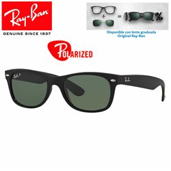 Ray-Ban New WayFarer Rubber Black / Green Polarized (RB2132/622-58)