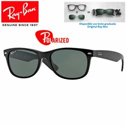 Ray-Ban New WayFarer Black / Crystal Green Polarized (RB2132/901-58)