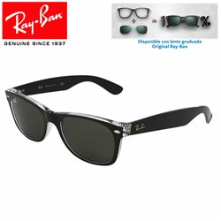 Ray-Ban New WayFarer Top Black On Transparent / Green (RB2132/6052)
