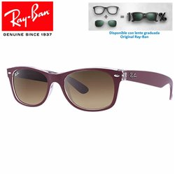 Ray-Ban New WayFarer Top Matte Burdeos On Transparent / Brown Gradient (RB2132/605485)