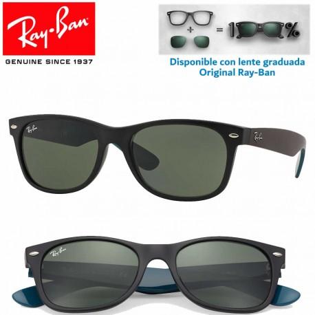 Ray-Ban New WayFarer Top Black On Transparent / Blue Grad. Grey Polarized (RB2132/605258)