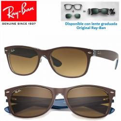 Ray-Ban New WayFarer Matte Chocolate on Blue / Light Brown Grad Dark Brown (RB2132/618985)