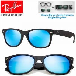 Ray-Ban New WayFarer Rubber Black / Grey Mirror Blue (RB2132/622-17)