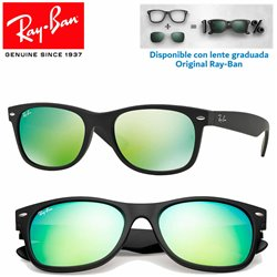 Ray-Ban New WayFarer Rubber Black / Grey Mirror Green (RB2132/622-19)