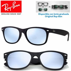 c8e934956f Sunglasses Ray-Ban New WayFarer Rubber Black   Grey Mirror Silver ...