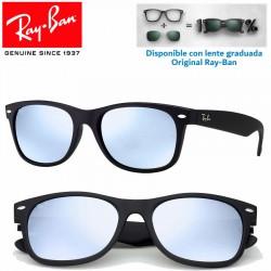 Ray-Ban New WayFarer Rubber Black / Grey Mirror Red (RB2132/622-69)