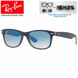 Ray-Ban Black Matte Blue on Opal Brown / Clear Gradient Blue (RB2132/63083F)