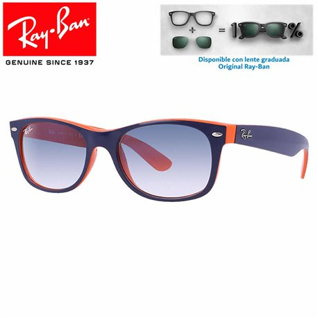 Ray-Ban New WayFarer Top Black On Transparent / Blue Grad. Grey Polarized (RB2132/605258)