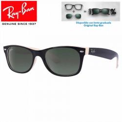 Ray-Ban New WayFarer Top Black On Beige / Crystal Green (RB2132/875)