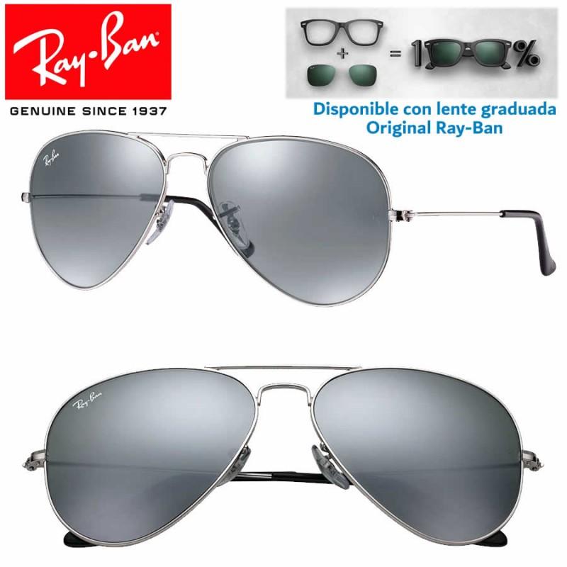 Sunglasses Ray Ban Aviator Large Silver Grey Mirror