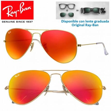 Ray-Ban Aviator Large Matte Gold / Orange Mirror (RB3025 -112/69)
