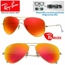Ray-Ban Aviator Large Matte Gold / Brown Mirror Red Polarized (RB3025-112/4D)