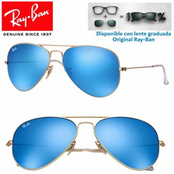 Ray-Ban Aviator Large Matte Gold / Blue Mirror (RB3025/112-17)
