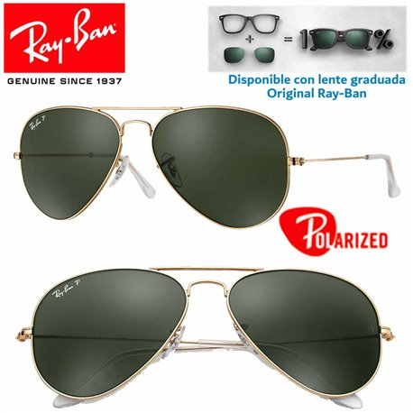 Ray-Ban Aviator Large Gold / Crystal Green Polarized (RB3025/001-58)