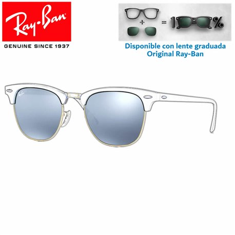 Lentes de repuesto Ray-Ban New ClubMaster Lente Green Mirror Silver (RB3016-114530)
