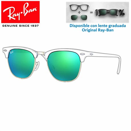 Lentes de repuesto Ray-Ban New ClubMaster Lente Grey Mirror Green (RB3016-114519)