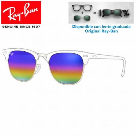 Lentes de repuesto Ray-Ban New ClubMaster Lente Green Rainbow Flash (RB3016-221C3E)