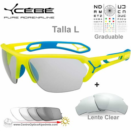 Cebe S TRACK Large CBSTLPRO Matte Yellow Blue / Zone Vario Grey + Clear