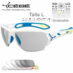Cebe S TRACK Large CBSTL8 Matte White Blue / Vario Grey Light Silver AF