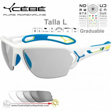 Cebe S TRACK Large CBSTL8 Matte White Blue / Vario Grey Light Silver AF