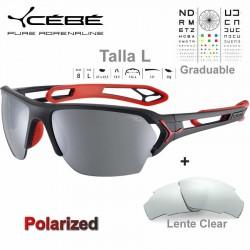Cebe S TRACK Large CBSTL15 Matte Black Red / Polarized Grey Silver AF + Clear