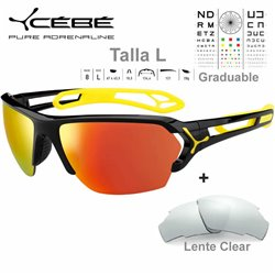 Cebe S Track Large CBSTL10 Shiny Black-Yellow / Grey Red AF + Clear