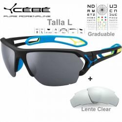 Cebe S TRACK Large CBSTL13 Matte Black Blue / Grey AF Silver+ Clear