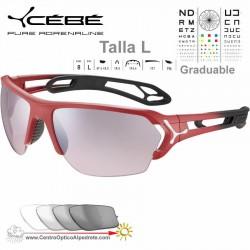 Cebe S TRACK Large CBS057 Matte Red Gradient / Sensor Vario Grey Rose Silver AF
