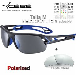 Cebe S TRACK Medio CBSTM17 Matte Black Blue / Polarized Grey Silver AF + Clear