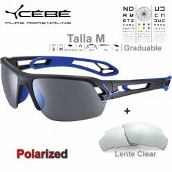 Cebe S TRACK Medio CBSTM17 Matte Black Blue / Polarized Grey Silver AF + Clear