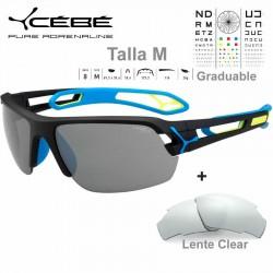 Cebe S TRACK Medio CBSTM14 Matte Black Blue / Zone Grey Silver AF + Clear