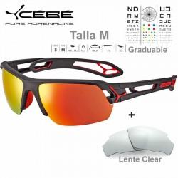 Cebe S TRACK Medio CBSTM15 Matte Black Red/ Zone Grey Red AF + Clear