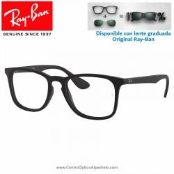 Ray-Ban Rubber Black Graduate Glasses (RX7074-5364)