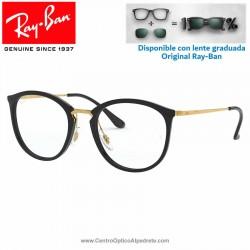 Gafas para graduado Ray-Ban Shiny Black (RX7140-2000)