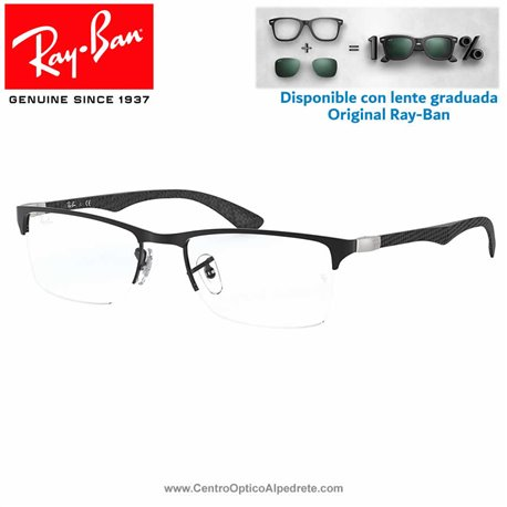 Ray-Ban Matte Black Graduate Glasses (RX8413-2503)