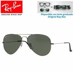Ray-Ban Aviator Large RB3025 GunMetal / Grey Green (W0879)