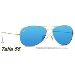 Ray-Ban RB3362 Aviator Cockpit Matte Gold / Blue Grey Mirror (112-17)