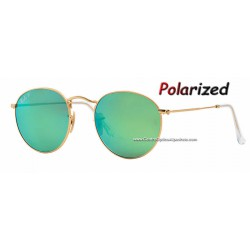 Ray-Ban Round Matte Gold/ Green Mirror Polarized (RB3447/122-P9)